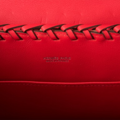 View 8. Thumbnail of Lot 6. Hermès Rouge De Coeur Mini Kelly Picnic Bag of Osier Wicker and Swift Leather.