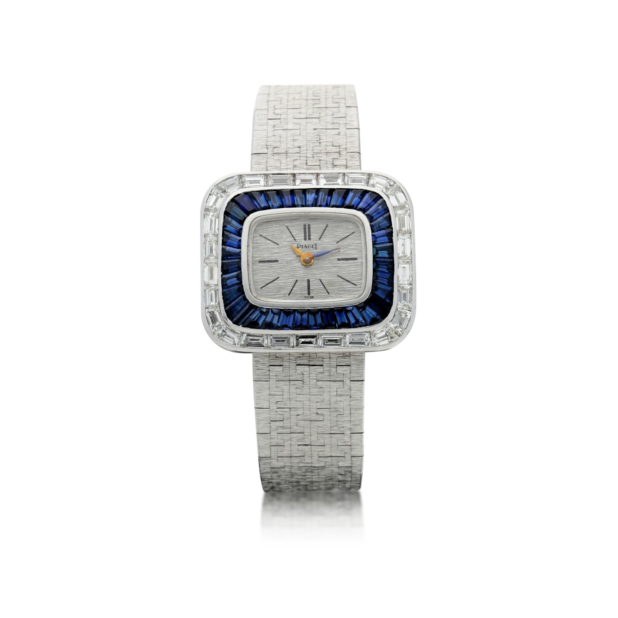 View full screen - View 1 of Lot 98. REFERENCE 3655A6 A LADY'S WHITE GOLD BRACELET WATCH WITH DIAMOND AND SAPPHIRE-SET BEZEL, CIRCA 1970.