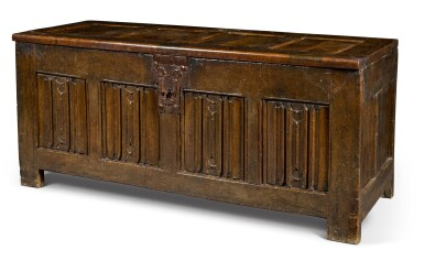 View 2. Thumbnail of Lot 21. An oak panelled chest, Low Countries, 16th century.