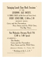 THE BEATLES   'Swinging Lunch Time Rock Sessions', handbill, 15 March 1961