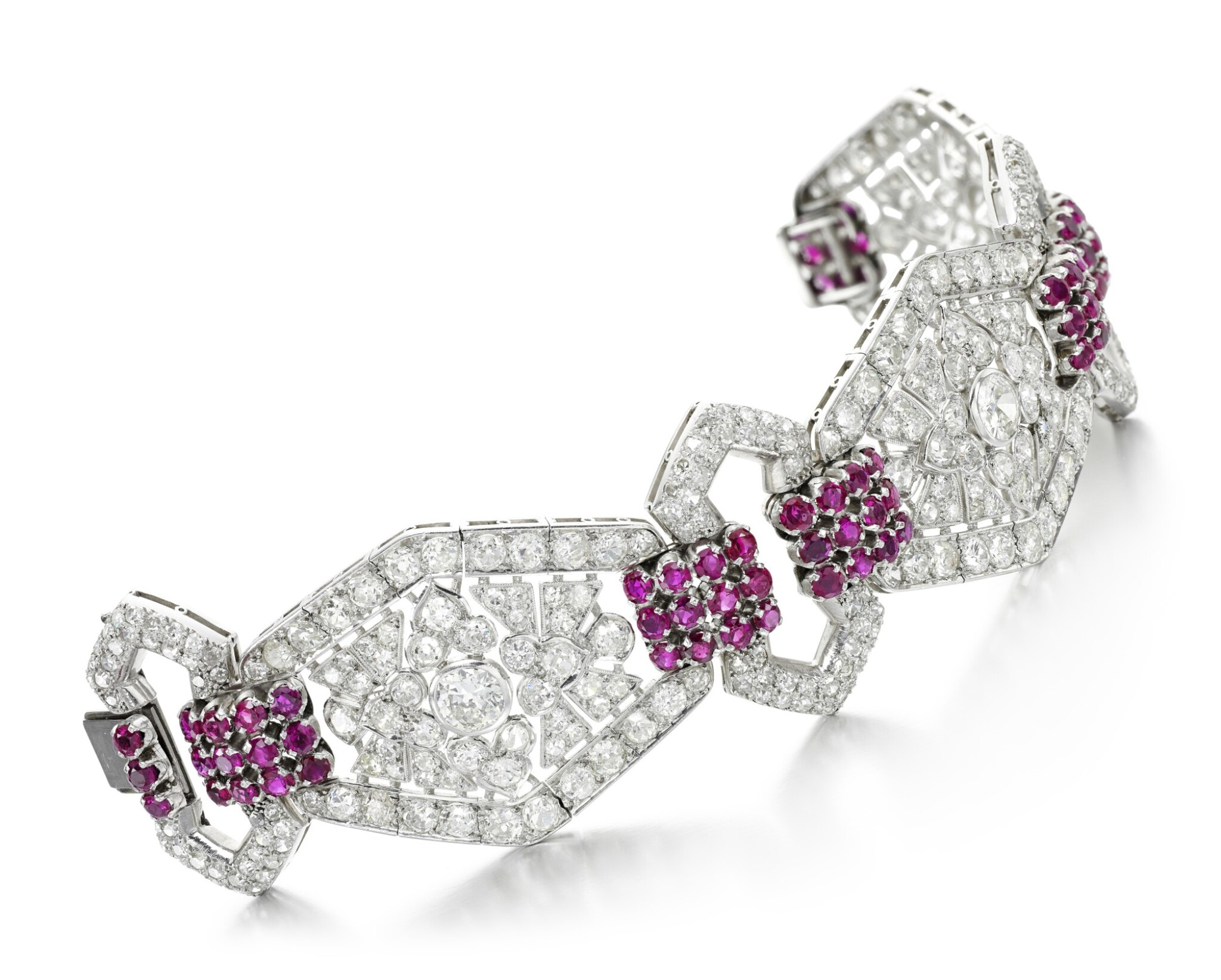 View full screen - View 1 of Lot 204.  GOINEAU   RUBY AND DIAMOND BRACELET.