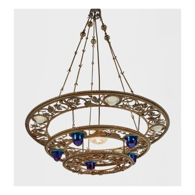 TIFFANY STUDIOS | CHANDELIER FROM THE STUDIO BUILDING OF LAURELTON HALL, THE RESIDENCE OF LOUIS COMFORT TIFFANY, LAUREL HOLLOW, NEW YORK