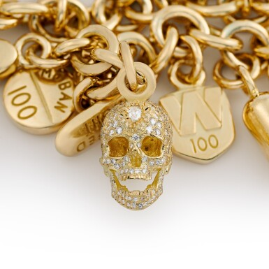 View 5. Thumbnail of Lot 13. Pharmaceutical Pills with Diamond Skull, Charm Bracelet.