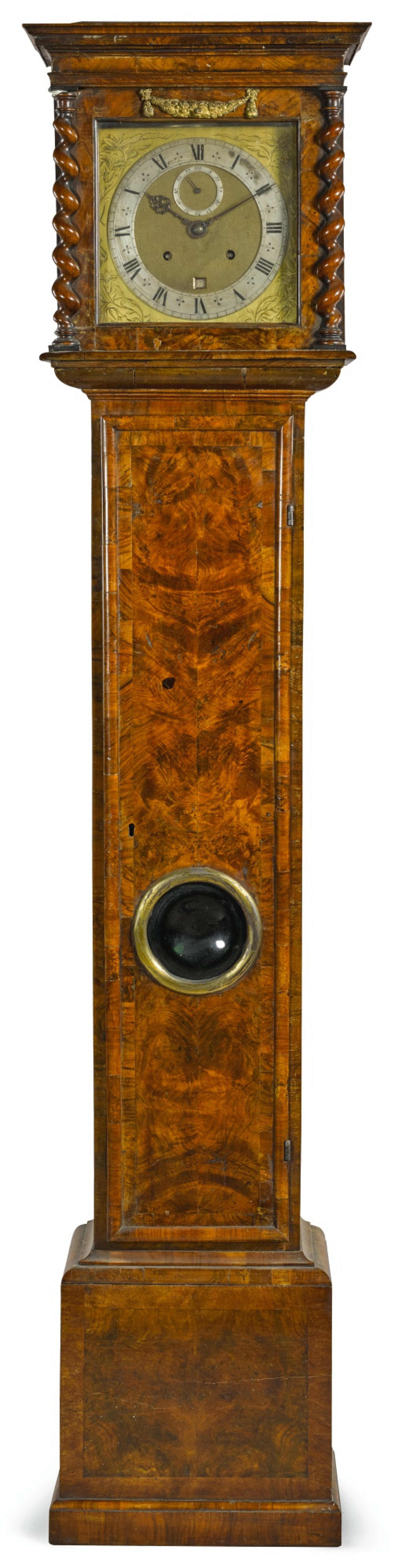 View full screen - View 1 of Lot 97.  JOSEPH KNIBB | A WALNUT MONTH-GOING LONGCASE CLOCK, LONDON, CIRCA 1675 AND LATER, MOVEMENT AND CASE ASSOCIATED.