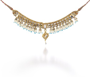 A JEWELLED GOLD NECKLACE, NORTH INDIA, 19TH CENTURY