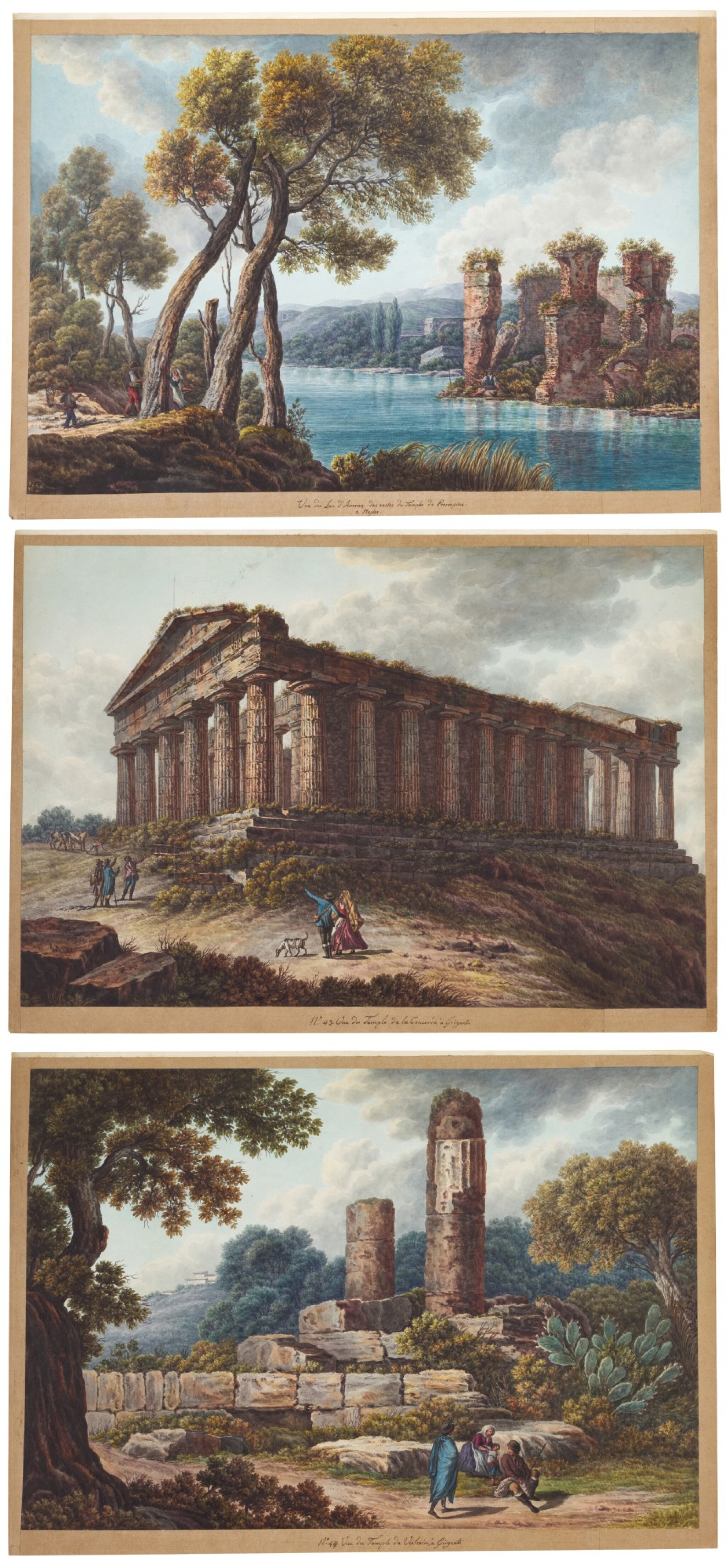View full screen - View 1 of Lot 111. A) View of The Temple of Concord, Agrigento B) View of The Temple of Vulcan, Agrigento C) View of the Lake of Averno and The Temple of Proserpina near Naples.