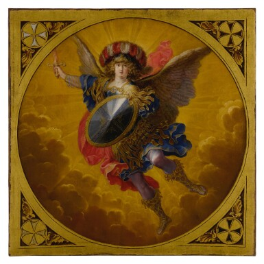 View 3. Thumbnail of Lot 665. A young prince, possibly Ferdinand Karl, Archduke of Austria and Tyrol, flanked by two attendants;  The Archangel Saint Michael, wearing a plumed helmet with the colors of Austria.