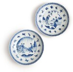 A PAIR OF CHINESE BLUE AND WHITE MOLDED DISHES, QING DYNASTY, KANGXI PERIOD