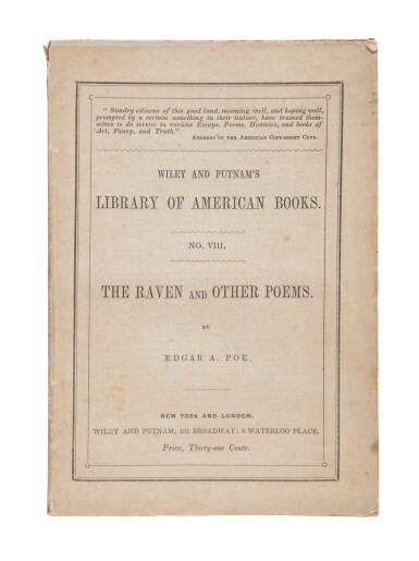 View 1. Thumbnail of Lot 76. POE, EDGAR ALLAN | The Raven. New York: Wiley and Putnam, 1845.