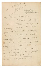 WILDE | Autograph letter signed, to George Alexander, outlining the plot of The Importance of Being Earnest, 1894