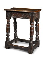 A Charles II oak joined stool, third quarter 17th century