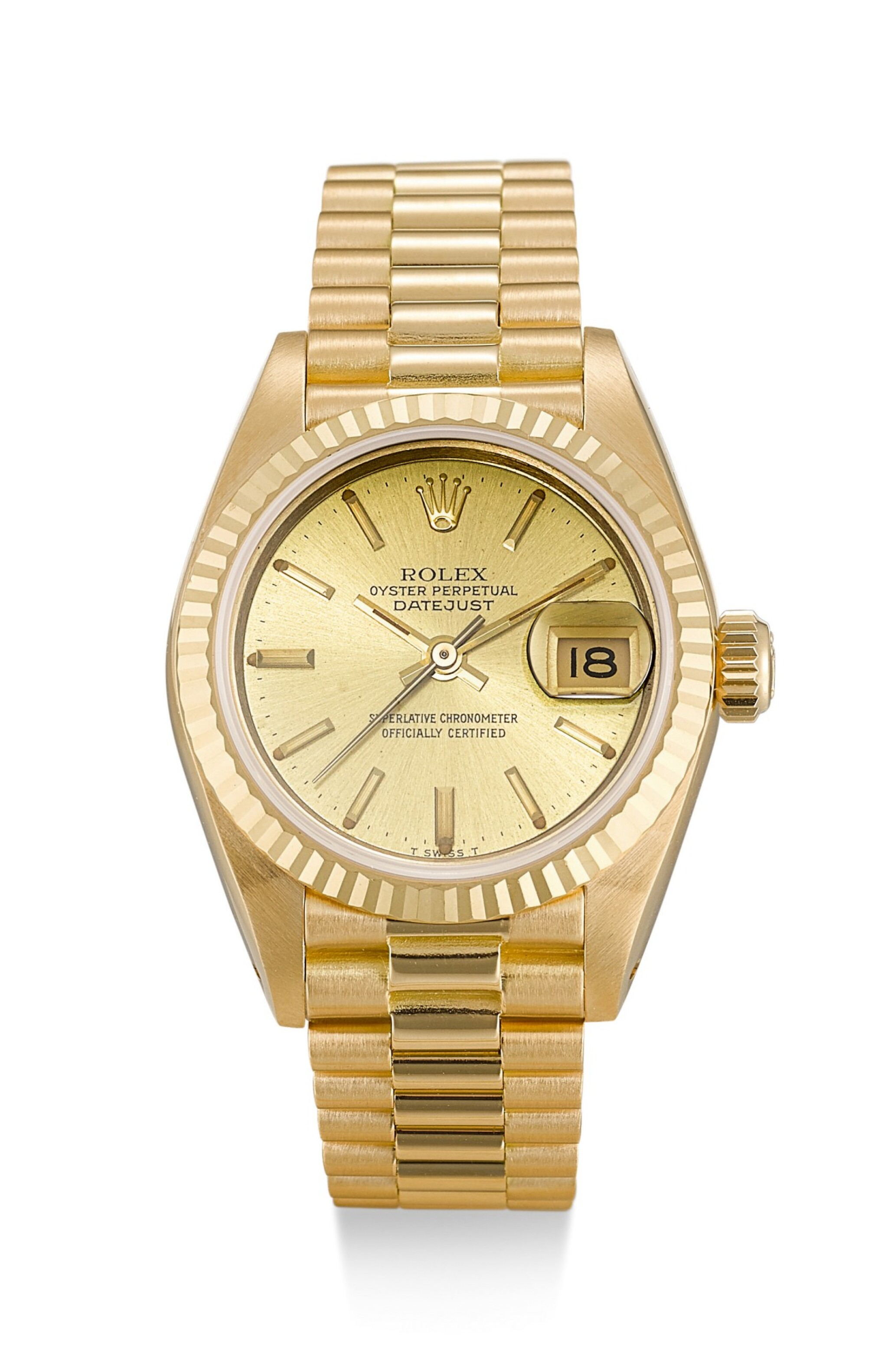 View full screen - View 1 of Lot 9. ROLEX |  DATEJUST, REFERENCE 69178, A YELLOW GOLD WRISTWATCH WITH DATE AND BRACELET, CIRCA 1983.