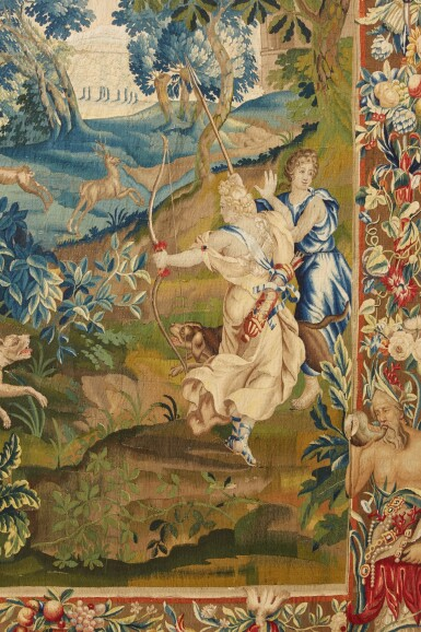 View 3. Thumbnail of Lot 91. A Flemish mythological tapestry, Brussels or Antwerp workshop, circa 1700-1720, possibly from the Story of Diana, after designs by Louis van Schoor and Pieter Spierinckx.