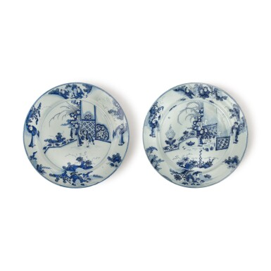 TWO SIMILAR DUTCH DELFT BLUE AND WHITE LARGE CHARGERS, LATE 17TH CENTURY