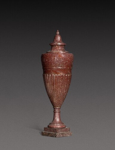 View 3. Thumbnail of Lot 137. An Italian carved porphyry urn, 19th century.