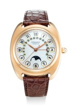 HERMES | DRESSAGE II, REFERENCE DR2.770.213 A LIMITED EDITION PINK GOLD WRISTWATCH WITH MOON PHASES, RETROGRADE DATE AND MOTHER-OF-PEARL DIAL, CIRCA 2005