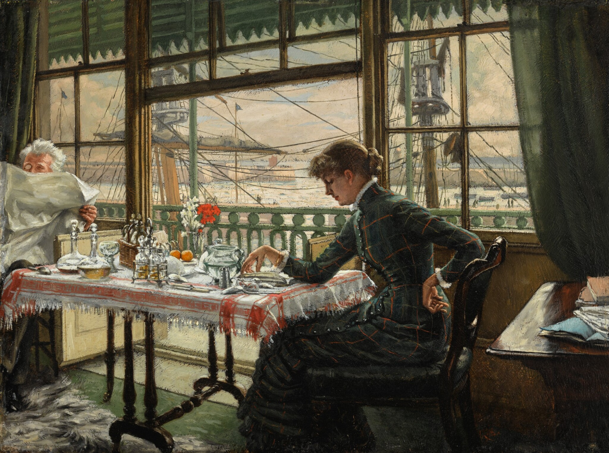 View full screen - View 1 of Lot 36. JAMES-JACQUES-JOSEPH TISSOT | Room Overlooking the Harbour.