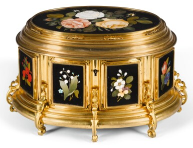 View 1. Thumbnail of Lot 7. AN ITALIAN PIETRE DURE AND TENERE GILT-BRASS CASKET FLORENCE, LATE 19TH CENTURY.
