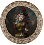 NEAPOLITAN SCHOOL, 18TH CENTURY | Still life of flowers in a bronze urn upon a stone ledge