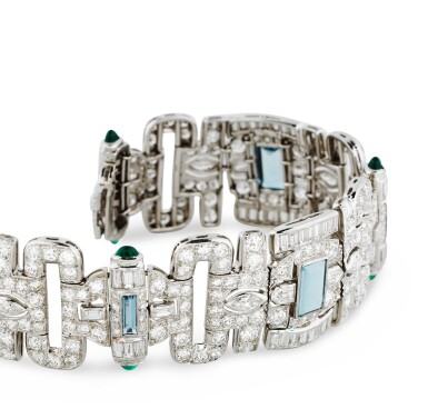 View 3. Thumbnail of Lot 17. BRACELET AIGUES-MARINES, CALCEDOINE ET DIAMANTS | ACQUAMARINE, CHALCEDONY AND DIAMOND BRACELET .