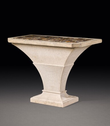 View 2. Thumbnail of Lot 150. A GEORGE III PORTLAND STONE, BLUE JOHN, SPECIMEN MARBLES AND FOSSILISED LIMESTONE TABLE, THE TOP LATE 18TH/EARLY 19TH CENTURY, THE STAND MODERN.