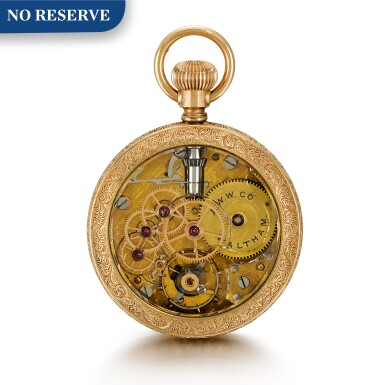 View 1. Thumbnail of Lot 19. AMERICAN WATCH CO., WALTHAM  [ American Watch Co., 沃爾瑟姆]  | A RARE SMALL GOLD OPEN-FACED KEYLESS LEVER WATCH WITH ROCK CRYSTAL MOVEMENT  CIRCA 1890  [ 罕有小型黃金懷錶備水晶機芯,年份約1890].