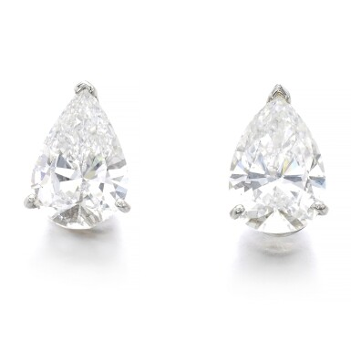 View 1. Thumbnail of Lot 1019. Pair of diamond ear studs.