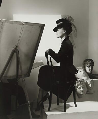 View 1. Thumbnail of Lot 130. Fashion with Easel, Reboux Hat, Cartier Jewels (Estrella Boissevain).