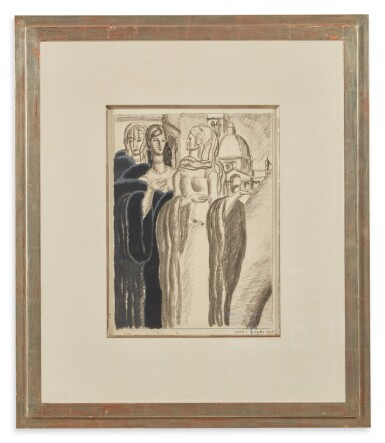 View 2. Thumbnail of Lot 68. Drawing of Three Women.