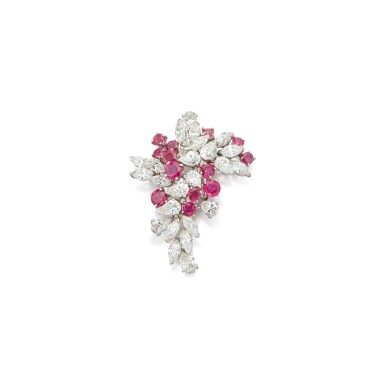 RUBY AND DIAMOND BROOCH, CARTIER