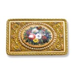 A VARICOLOR GOLD, ENAMEL, AND PEARL SINGING BIRD SNUFF BOX WITH KEY, THE MOVEMENT BY FRÈRES ROCHAT, THE BOX CHENEVARD JOUVET & CIE, GENEVA, CIRCA 1820