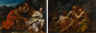 View 1. Thumbnail of Lot 643. Susanna and the Elders; Lot and His Daughters.