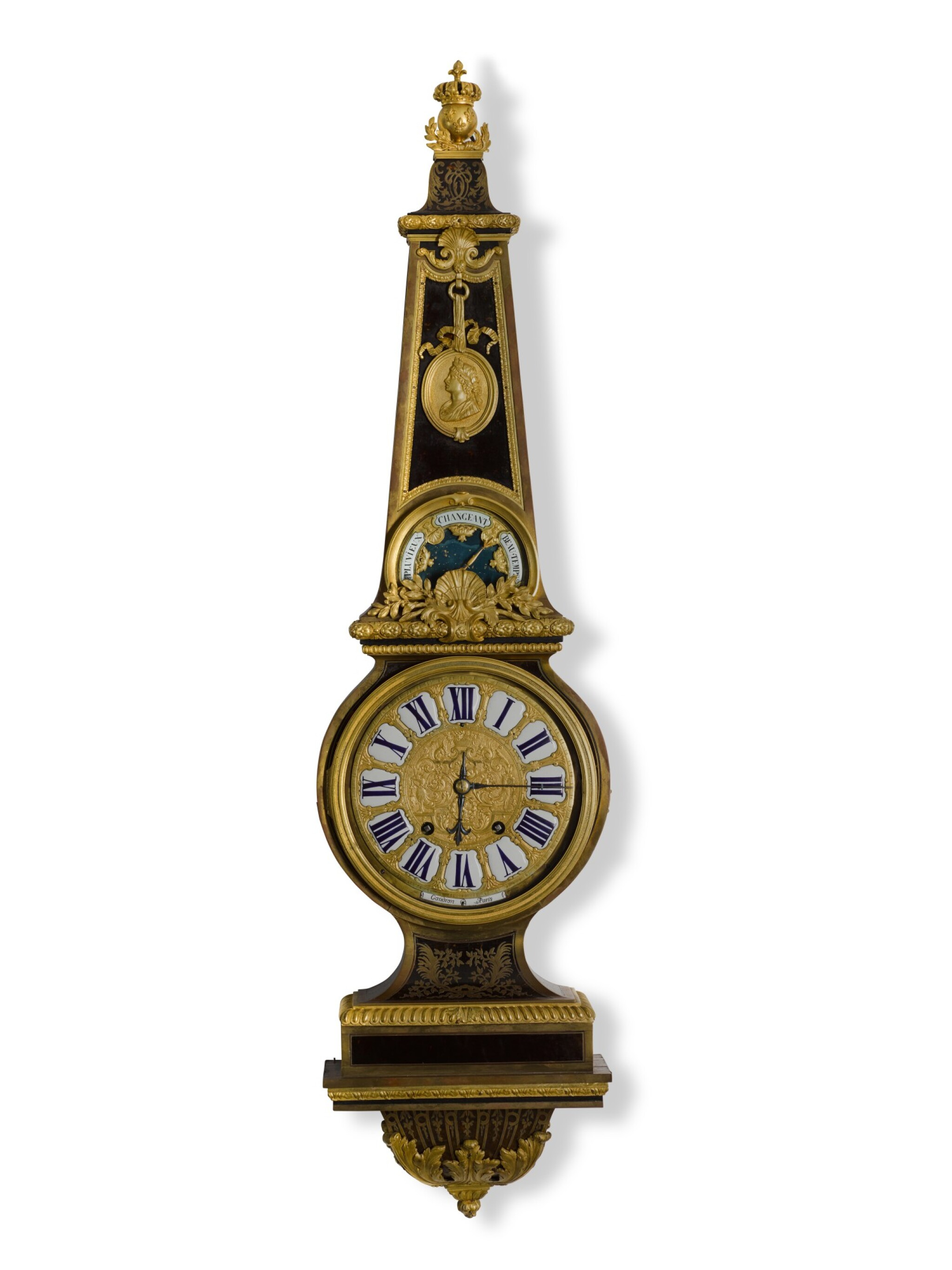 View full screen - View 1 of Lot 28. A LOUIS XIV-STYLE GILT-MOUNTED TURTLESHELL CLOCK/BAROMETER IN THE MANNER OF ANDRÉ-CHARLES BOULLE, CIRCA 1850.