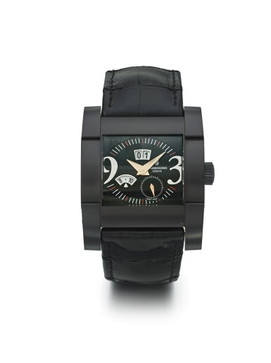 DE GRISOGONO | INSTRUMENTO NOVANTATRE A BLACK COATED AUTOMATIC WRISTWATCH WITH DATE AND MONTH CIRCA 2005