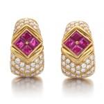 Bulgari | Pair of ruby and diamond ear clips | 寶格麗 | 紅寶石配鑽石耳環一對