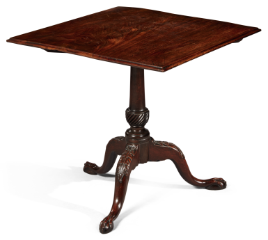 View 2. Thumbnail of Lot 1123. VERY FINE AND RARE CHIPPENDALE CARVED AND FIGURED MAHOGANY TILT-TOP TEA TABLE, SALEM, MASSACHUSETTS, CIRCA 1775.