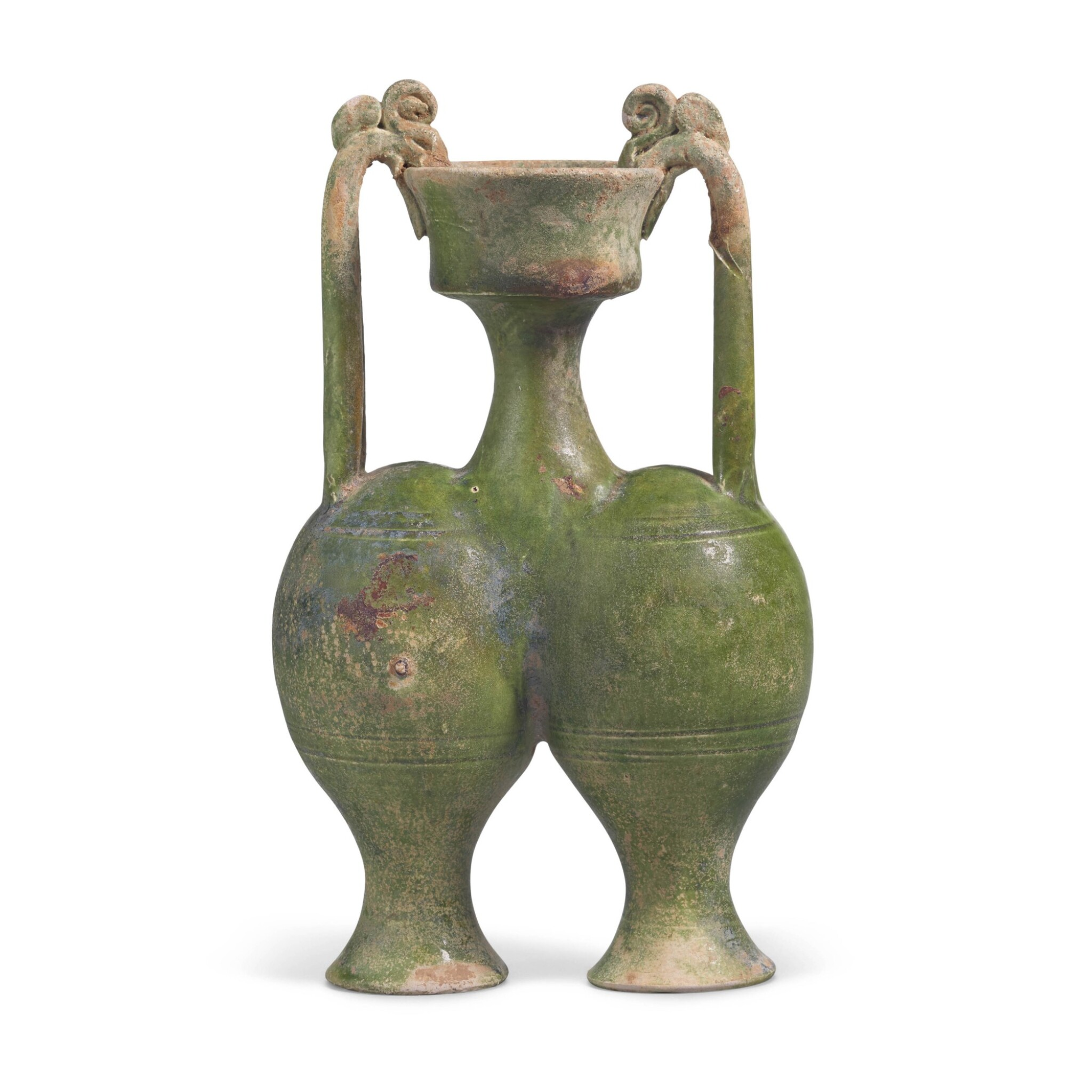 View full screen - View 1 of Lot 216. A RARE GREEN-GLAZED CONJOINED AMPHORA, SUI DYNASTY   隋 綠釉雙龍柄聯腹傳瓶.