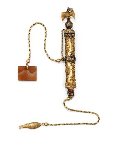 A TWO-COLOUR GOLD SMOKING NECESSAIRE INSERT WITH ROSE-CUT DIAMONDS, PROBABLY RUSSIA CIRCA 1880 |  ETUI EN OR 18 CARATS DE DEUX COULEURS SERTI DE DIAMANTS TAILLE ROSE, APPAREMMENT NON POINÇONNÉ, PROBABLEMENT RUSSIE VERS 1880