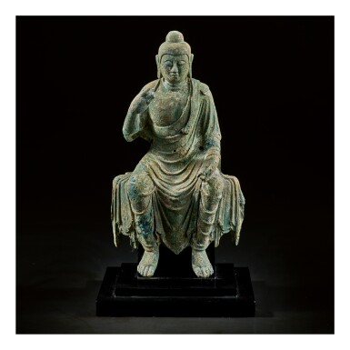 View 1. Thumbnail of Lot 585. A BRONZE FIGURE OF BUDDHA,  TANG DYNASTY.