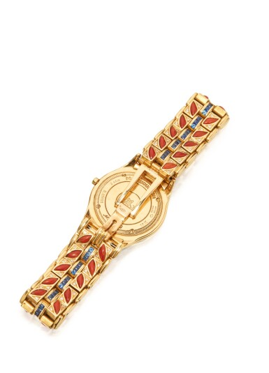 View 2. Thumbnail of Lot 50. GOLD, CORAL, SAPPHIRE AND DIAMOND WRISTWATCH, MAUBOUSSIN.
