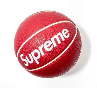"View full screen - View 1 of Lot 7. SUPREME SPALDING ""EACH ONE TEACH ONE"" BASKETBALL RED."
