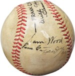 Baseball signed by Babe Ruth and others involved in the film The Pride of the Yankees