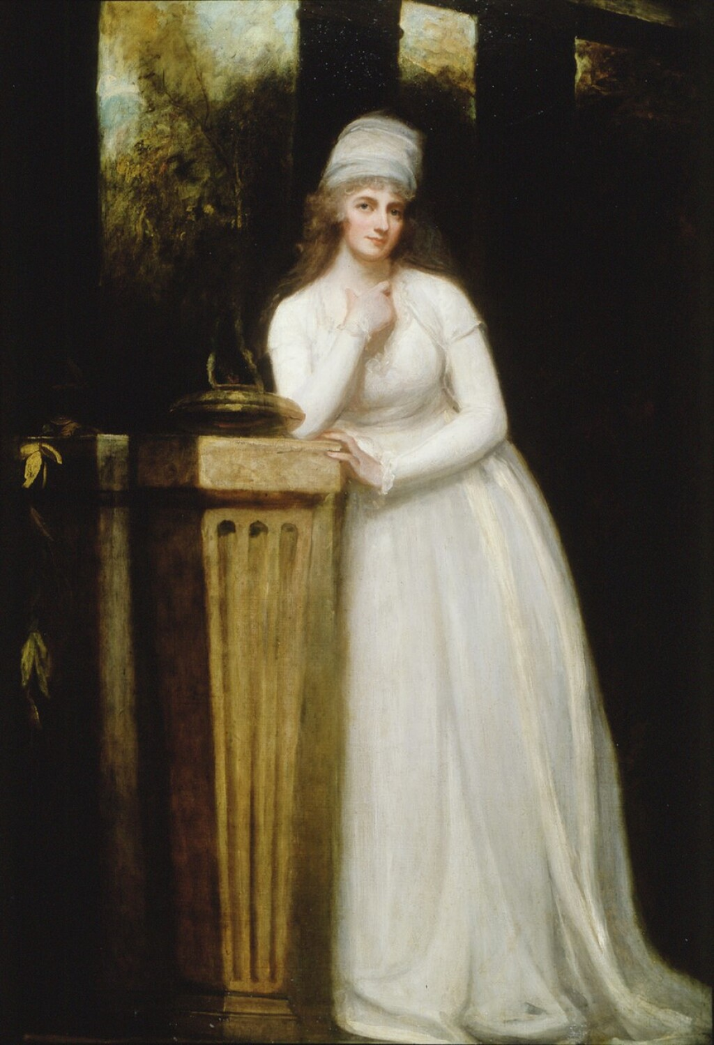 GEORGE ROMNEY   PORTRAIT OF ANNE, MARCHIONESS OF TOWNSHEND, FULL LENGTH, IN A WHITE DRESS WITH A WHITE MUSLIN CAP