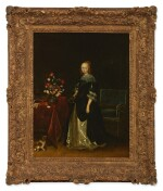 FOLLOWER OF GERARD TER BORCH | PORTRAIT OF A YOUNG WOMAN, FULL-LENGTH, STANDING AT A TABLE, WITH A DOG