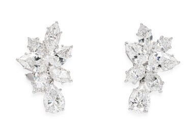 View 1. Thumbnail of Lot 32. HARRY WINSTON | PAIR OF DIAMOND EARCLIPS.