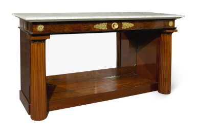 View 3. Thumbnail of Lot 239. AN EMPIRE STYLE GILT BRONZE-MOUNTED MAHOGANY CONSOLE TABLE.