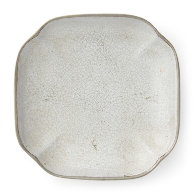 View 1. Thumbnail of Lot 41. A quadrilobed inscribed pewter and ge-type-glazed dish, 19th / 20th century.