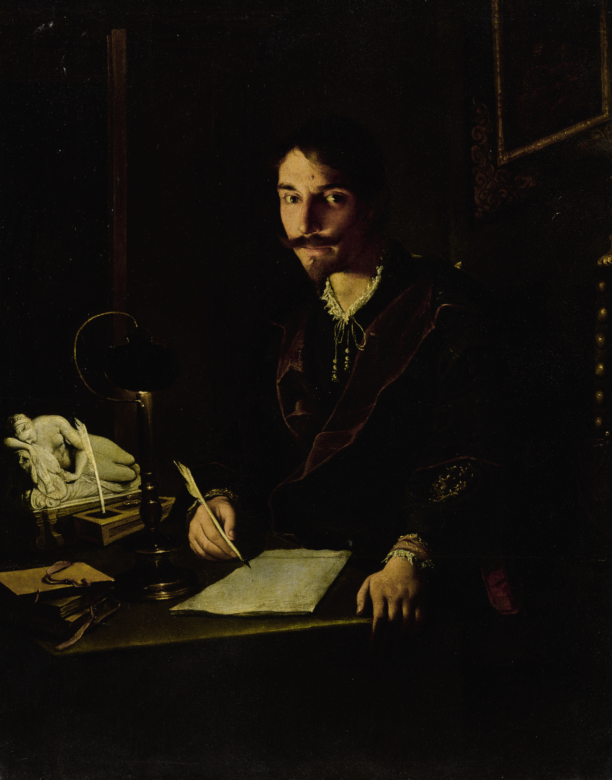 View full screen - View 1 of Lot 34. PIETRO PAOLINI | A PORTRAIT OF A MAN WRITING BY CANDLELIGHT .