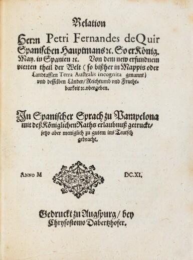 View 3. Thumbnail of Lot 8. QUIROS. Relation ... von dem new erfundnem vierten theil der Welt... Augsbourg, 1611. In-4. Maroquin rouge de Lortic..