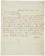 Lincoln, Abraham. Autograph letter signed, to Joshua Reed Giddings, 21 May 1860